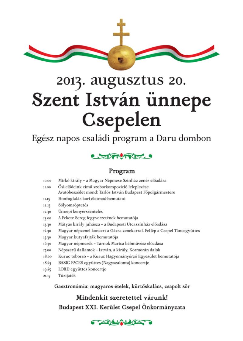Szent István ünnepe Csepelen